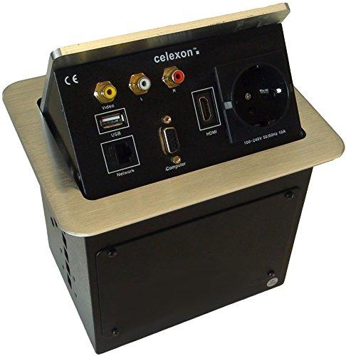 celexon Expert Tischanschlussfeld TA-200S - silber - 193x150mm - HDMI - VGA - 1x Audio (2 x Chinch...