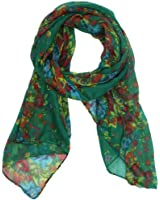 Kobwa(TM) Fashion Soft Paris Yarn With Flower Pattern Long Muffler Shawl Scarf Wraps With Kobwa's Keyring