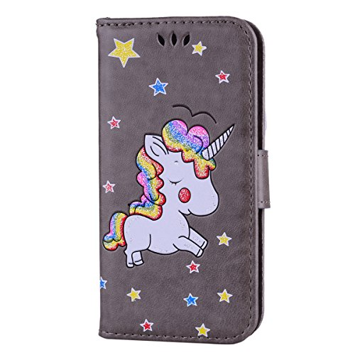 Cover iPhone 7,iPhone 8 Custodia,Mo-Beauty® Stampato Cute Unicorn Design Magnetico Snap-on Book Style Internamente Silicone TPU Case Protettiva PU Pelle Folio Flip Custodia per Apple iPhone 7/iPhone 8 Grigio