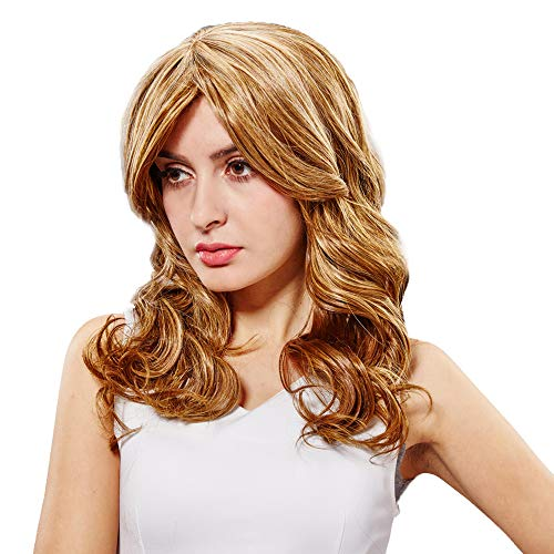 Perruque Blonde Femme, feiXIANG Vrai Cheveux Naturel Postiche Cheveux Chignon Blond Perruque Synthétique Bresilienne Postiche Blonde