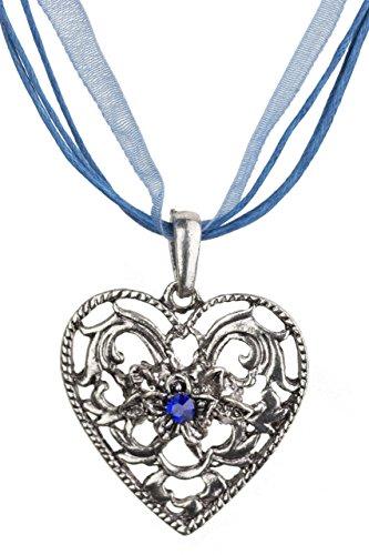 Trachtenkette Herz-Barock mit grossem Herz Strass und Edelweiss - Trachtenschmuck Anhänger Kette für Dirndl, Lederhose und Oktoberfest viele Farben (Blau)