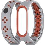 MEEFIX Wrist Strap TPU Bracelet Replacement Wristband for Xiaomi Mi Band 4 (Grey-Orange)