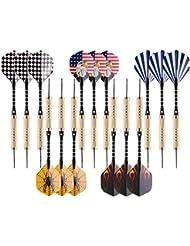 Dartpfeile steel, steel dart pfeile mit metallspitze 18g, dart flights mit brass fass & aluminium schäfte, dartpfeile set perfekt für Profis oder Anfänger [15 Sets]