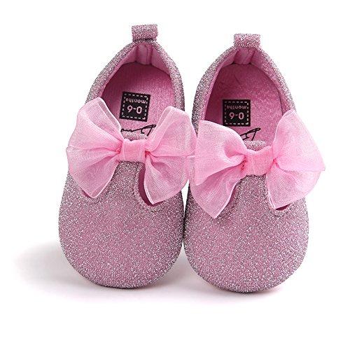Luerme Chaussures Premier Pas Bébé Fille Confortable Chaussures Semelle Souple Coton Cuir Chaussures Princesse Chaussure Marche Bébé pour Fille 0-18 Mois Rose