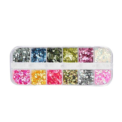 12 Grids ongles Glitter Sequin Mixte Ronde/Star Lune/Perle bricolage Flake Nail art autocollant Décorations Mengonee
