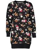 Mymixtrendz. Damen Damen Weihnachten Rentier Wand Ho Ho Santa Schneemann Weihnachten Pullover Kleid Sweatshirt (2XL (EU 48-50), Brown Bird Black)