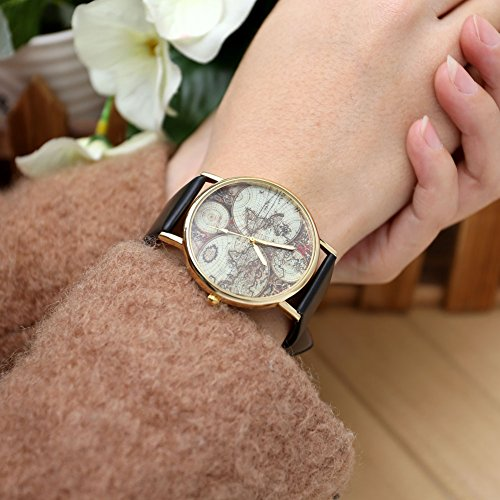 JSDDE Damen Mädchen Uhren Vintage Weltkarte Quarzuhr Armbanduhr Plus Infinity Wickelarmband, Schwarz - 3