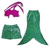 L-Peach 3pcs Bañador de Niñas Costume Traje de Baño de Princess Mermaid Tail Swimwear Bikini Top Fucsia Cola Verde 2-10 años