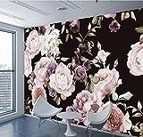 Mkkwp Benutzerdefinierte 3D Fototapete Wandbild Handgemalte Schwarz Weiß Rose Pfingstrose Blume Wandbild Wohnzimmer Wohnkultur Malerei Tapeten-250Cmx175Cm