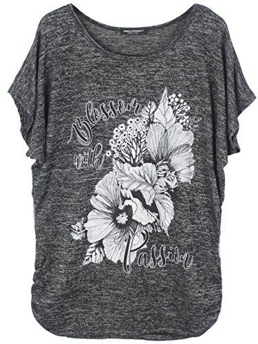 Emma & Giovanni - Sommer T-Shirt/Oberteile Blumen Kurzarm - Damen (Schwarz, XL/XXL)