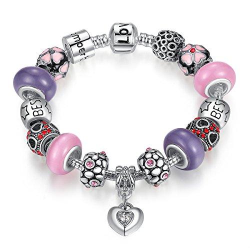 Wostu Love-Braccialetto con perline in vetro a lume, viola, rosa e zirconi, idea regalo per ragazze