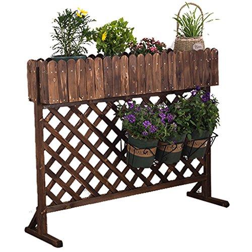 Dyfymxstand de plantes ripiano in legno carbonizzato, fioriera decorativa, ripiano grigliato. pot de fleurs