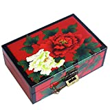 ZHAO YELONG Caja De Almacenamiento Pintado A Mano Caja De Pintura China Regalos De Boda Caja De Regalo Obra De Arte Doble Capa (Color : Rojo)