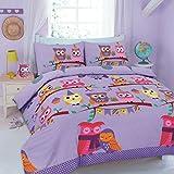 Motivo: Gufi colorati, per letto singolo, colore: lilla, Set di copripiumino e federa & Set di lenzuola, motivo: gufi, motivo: Birds, & per bambini