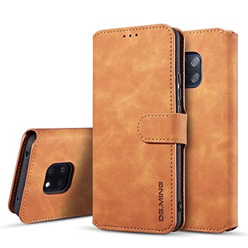 xinyunew Huawei Mate 20 Pro Hülle, 360 Grad Handyhülle + Panzerglas Premium Handy Schutzhülle Leder Wallet Tasche Flip Brieftasche Etui Schale (Braun)