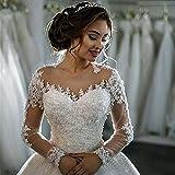 LUCKY-U Brautkleider Hochzeitskleid Frau Boden Kleid Weiß Elegant Party Sexy Kleid Ärmel Spitze Braut Formelle Kleidung , us 6