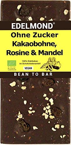 Edelmond® Bio 100 % Schokolade mit Rosinen und Mandeln, ohne Zucker oder Süßstoff. Nur 3 Fruchtzutaten aus organischem Anbau. Bitter !