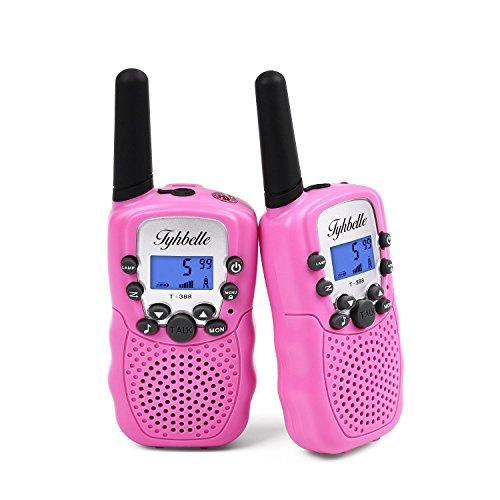 Tyhbelle 2 x Kinder Walkie Talkie PMR446 lizenzfrei 8 Kanäle Funkgerät mit LCD-Display und Lampe VOX-Funktion Walky Talky Ideal für Geschenk (2er-Pink)
