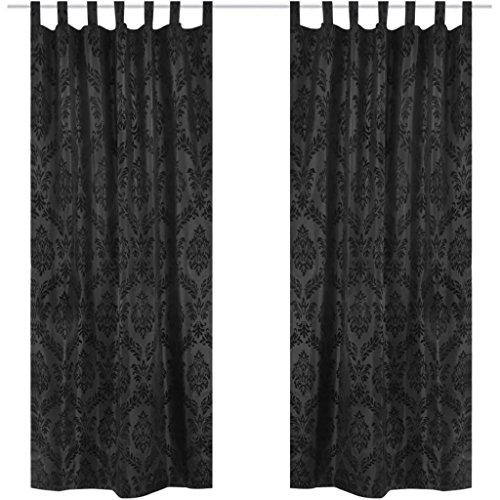 SENLUOWX 2 Barock-Taft-Vorhänge 140 x 225 cm Schwarz Gardinen Schlaufen zum Aufhängen