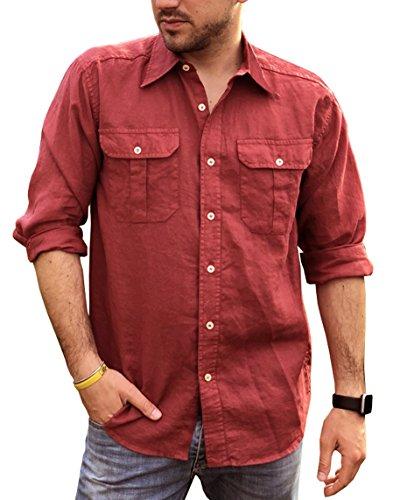 Camicia puro lino uomo casual doppio taschino (xxl, rosso scuro)