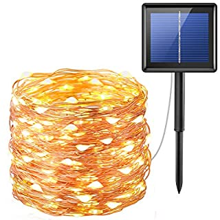 Criacr Solar Powered String Lights, (200 LED, 8 Modes) Starry Fairy Lights, 72 ft/20m Solar Fairy String Lights, Auto on off, Waterproof for Patio, Garden, Home, Wedding, Pathway, Party (Warm White)