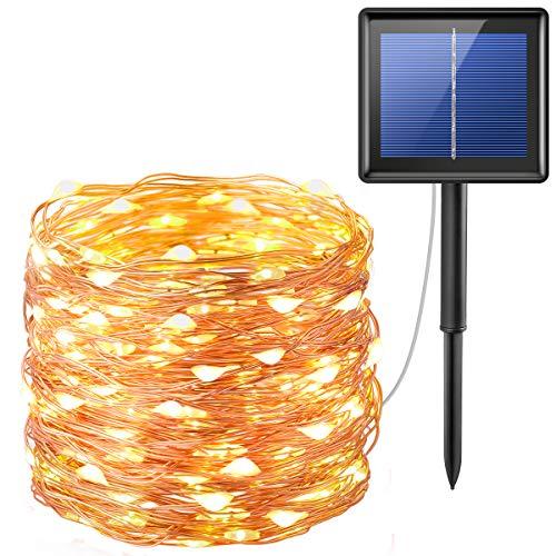 AMIR 20M Guirlande Lumineuse Solaire LED Etanche avec 200 Micro LED Étoilées, 8 MODES, Blanc chaud, Décoration de Noël, Décoration Maison, Guirlande Solaire Étanche pour l'extérieur et l'intérieur