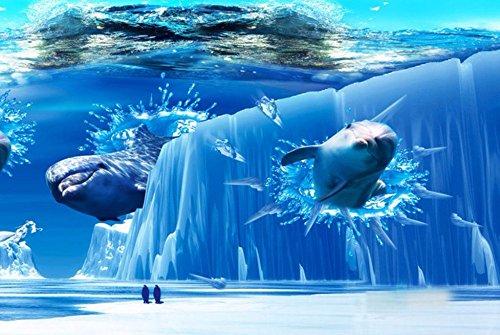 HHCYY Home Decor 3D Wandbilder Modern Dolphin Eisberg Tapete Schlafzimmer Wohnzimmer Tv Hintergrund-450cmx300cm