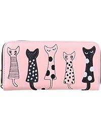 Women Wallets,Women Bags,Cat Ladies Purse PU Zipper Clutch Cute Cartoon Girl Money Bag(Pink)
