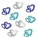 Oblique-Unique®100 Stk Deko Doppel Herzen im Farbmix Blau, Türkis und Silber Streuteile Scrapbooking Tischdeko Streudeko Hochzeit