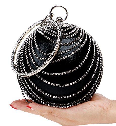 Santimon Pochettes Per Le Donna Strass Rotonda Sfera Del Partito promenade Di Sera Handle Bag nero
