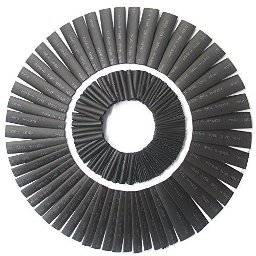 Ewparts Wärmeschrumpfschläuche 328 Pcs elektrische Isolierungs-Rohr-Hitze-Psychiaters-Verpackungs-Kabel-Hülse 8 Größen, Ewparts (schwarz)