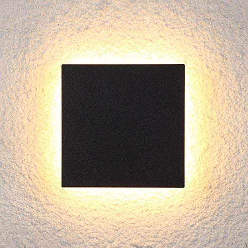 Zzyff Villa IP54 LED Schwarzes Quadrat Wandleuchte Gang Schlafzimmer Esszimmer Wohnzimmer Studie Balkon Aluminium Acryl Warm Yellow Light Post-Moderne Einfache Geometrie Minimalismus Dauerhaft -