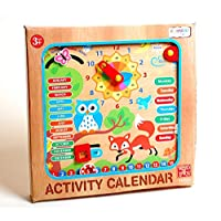 Earn Wings Deal EWD Colourful Wooden Activity Calendar Hanging Wall Clock Children Learning Educational Toy With Dials and Sliders - Time, Days, Months, Weather