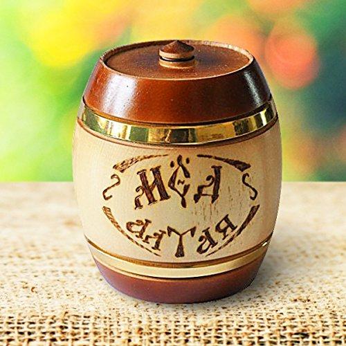 Engelwurz-Honig im hochwertigen Zedern-Holzfass / Honigtopf, von ImkerPur®, 1 kg, kräftig-herber Geschmack, mit einer feinen cremigen Angelikakraut-Note