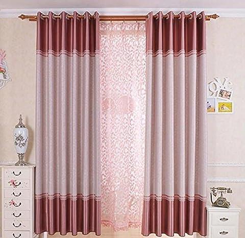 Ein Panels Vorhang Neoklassizistisch Solide Wohnzimmer Polyester Material Vorhänge Drapiert Haus Dekoration Für Fenster , Pink , 1pc(150x220cm)