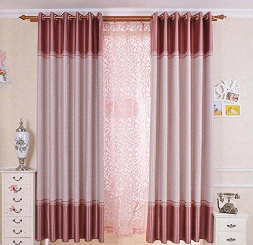 Preisvergleich Produktbild Ein Gardinenschal Neo-Klassisch Solide Wohnzimmer Polyester Material die Vorhänge Fensterdekoration Dekoration für die Haus für die Fenster 1pc(200x220cm) Pink