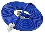 10 m Flach Kabel Cat. 7 Ethernet Gigabit LAN-Netzwerkkabel (RJ45), 10/100/1000 MBit/s, für Streaming, SUHD-TV, IPTV, Desktop-PC, Server, Laptop, Netzwerk-Drucker, halogenfrei, 10 GBit/s, hochwertig, kompatibel mit Cat.5/Cat.5e/Cat.6, Switch/Router/Modem/Patchpanel/Zugangspunkt/Patchfelder, Blau