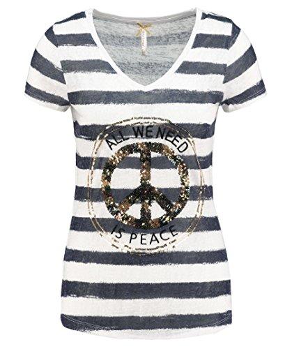 Key Largo Damen Shirt WT Joyce Kurzarm Marine (52) L (Peace-zeichen-ausschnitte)