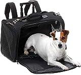 5in1 -für die Flugkabine / Hunde Trolley Hunde Tasche Rucksack & Transporttasche / Schwarz / bis 7 KG / 52 x 26 cm