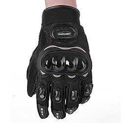 1 Paar Motorradhandschuhe Motorrad Handschuhe Racing Gloves Faser PU Schwarz L