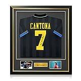 Eric Cantona Zurück Unterzeichnet Manchester United 1994 Black Shirt. In Deluxe Schwarz Rahmen Mit Gold Inlay