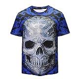 Herren T-Shirt Kurzarmshirt Top Print Shirt Casual Basic O-Neck,Pers5onlichkeit Mens 3D Print Skull beiläufige dünne kurzärmelige Shirt Top Bluse