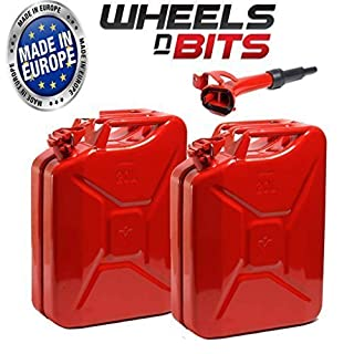 2 x NEW HIGH QUALITY METAL POWER COATED INSIDE AN OUT RED JERRY CAN 20L LITRE CAN WITH SPOUT
