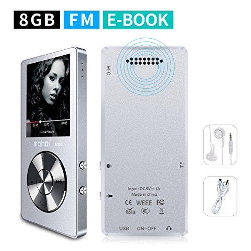 Mymahdi tragbarer MP3-Player, 8GB (erweiterbar auf bis zu 128GB), Stimmenaufzeichnung per Knopfdruck, FM Radio, 70Stunden Wiedergabe über externe Lautsprecher, HD-Kopfhörer, Silber