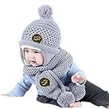 Bluestercool Casquettes d'écharpe pour enfants Bébés Garçons Filles chapeau d'hiver chaude + Écharpe (Environ 48-52cm, Gris)