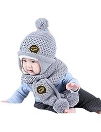 Bluestercool Casquettes d'écharpe pour enfants Bébés Garçons Filles chapeau d'hiver chaude + Écharpe