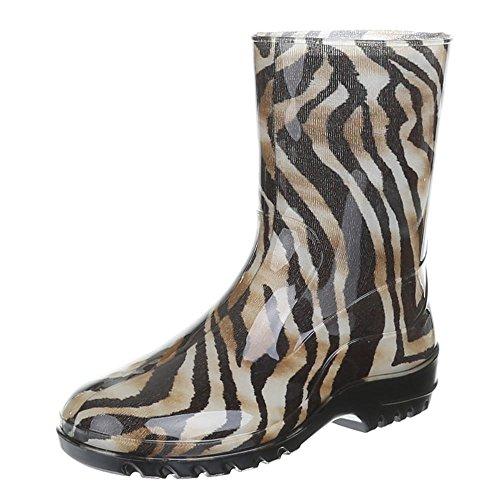 Damen Schuhe, GST-F200P, REGENSTIEFEL GUMMISTIEFEL Braun Schwarz 8