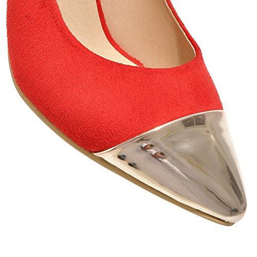 VogueZone009 Femme à Talon Haut Pointu Fermeture D'Orteil Tire Chaussures Légeres Rouge