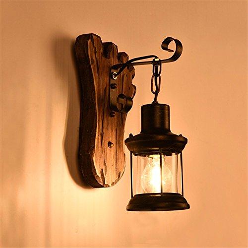 Vintage iluminación nostálgico PASILLO pasillo dormitorio de madera antiguos lámparas de hierro forjado, negro