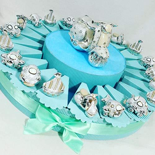 vespette, barchette... bomboniere nascita, battesimo bimbo su torta portaconfetti - torta 20 fette + oggetti + centrale + confetti *